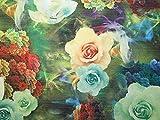 Floraler Digitaldruck Lurex gewebter Brokat-Stoff, Grün &
