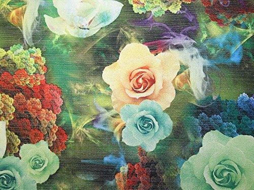Floraler Digitaldruck Lurex gewebter Brokat-Stoff, Grün & Blau, Meterware