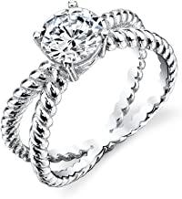 Minxwinx 925 Sterling Silver Bridal Engagement Ring Jewelry Set with Cubic zirconias X Cable Shank