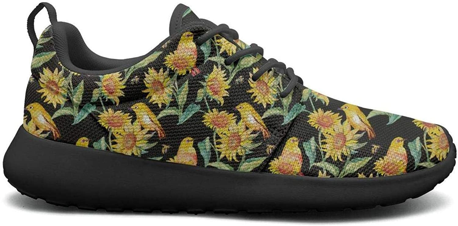 CHALi99 Fashion Lady Lightweight Mesh shoes Dwarf Sunflower Decorations Pattern Sneakers Running Lace-Up
