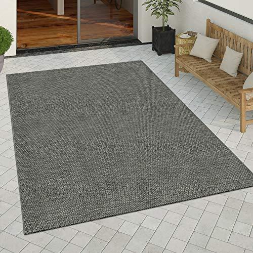Paco Home In- & Outdoor Teppich Küchenteppich Design Einfarbig Sisal Optik Dunkelgrau, Grösse:120x170 cm