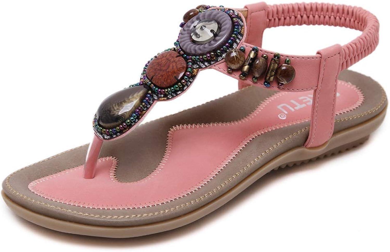 SHIBEVER Summer Flat Gladiator Sandals for Women Comfortable Casual Beach shoes Platform Bohemian Beaded Flip Flops Sandals Pink 9
