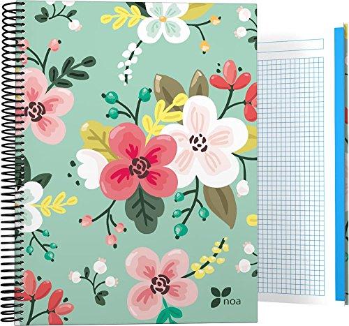 Grafoplás 16501934-Cuaderno de flores con Tapa Dura A4, Diseño Noa, 140 hojas cuadriculadas