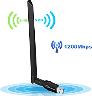 USB WiFi Adapter 1200Mbps, USB 3.0 Wireless Network Adapter Dual Band 2.4GHz/300Mbps+5GHz/867Mbps for Desktop Laptop Win7/8/8.1/10/Mac 10.4-10.14