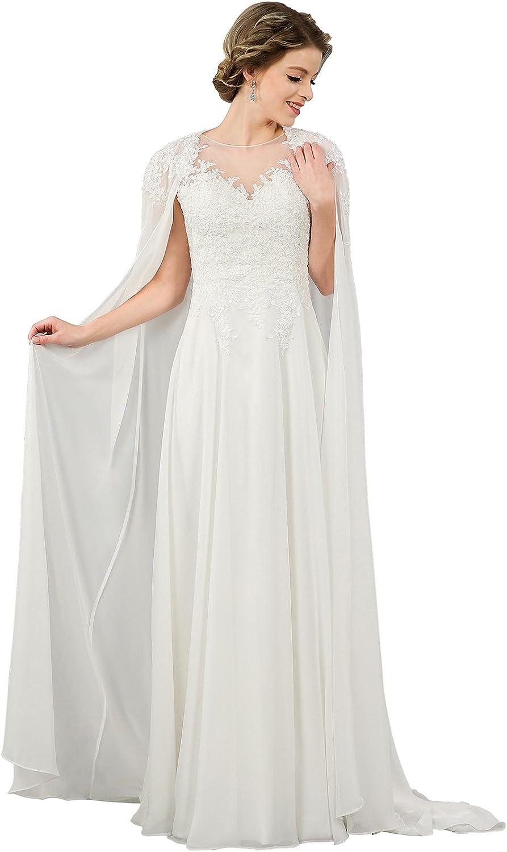 Vinatge Ivory V Neck Lace Appliques Chiffon Long Soft Dr Wedding Max 46% OFF Beach Mall