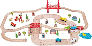 Bigjigs Rail Rural Road and Rail Train Set (80 Play Pieces)