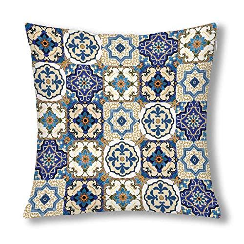 GOSMAO Precioso Patchwork Marroquí Azulejo Cojín Decorativo Funda de Almohada Funda de 18x18 Pulgadas, Protector de Funda de Almohada Decorativa