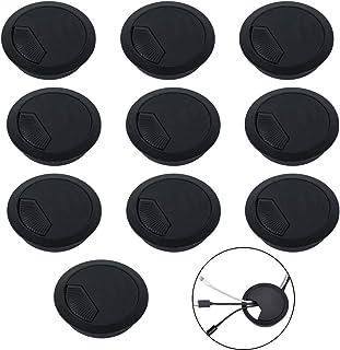 ManLee 10pcs Pasacables Mesa Oficina 60mm Tapa Pasacables Redondo Tapa Cables Escritorio Plastico Embellecedor Mesa Cable para Cubierta de Agujero Gestión de Cables Muebles Negro