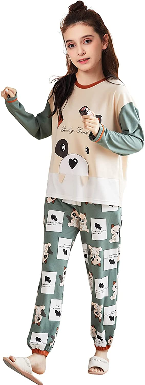 Pajamas for Girls Cute PJS Teens Young Girls Cotton Cartoon Tops Pants Set Loose Loungwear