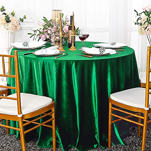 Wedding Linens Inc. 132' Round Italian Velvet Tablecloths for Restaurant Kitchen Dining Wedding Party Banquet Events - Emerald Green