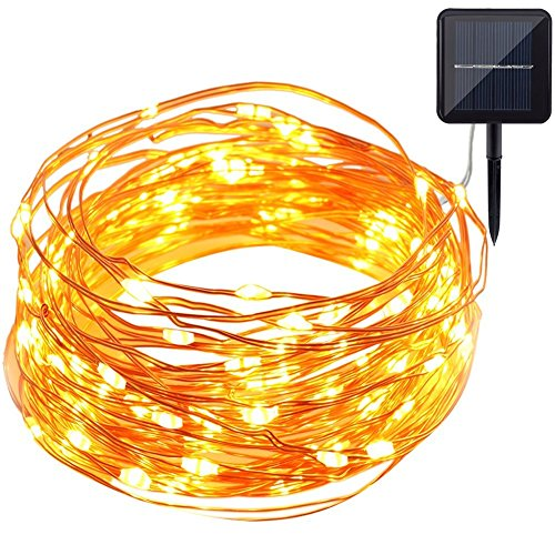 Solar String Lights, GDEALER 100LED 33ft Copper Wire Lights Waterproof Wire Rope Lights Ambiance Lighting for Outdoor Landscape Patio Garden Bedroom Camping Christmas Party Wedding-Warmwhite (1 Pack)