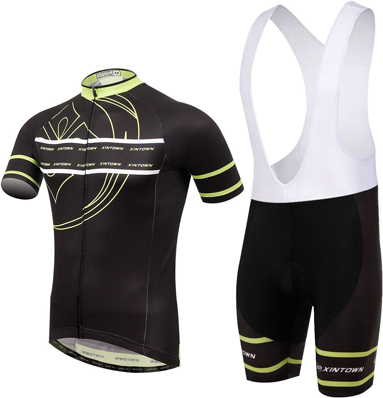 Men's Cycling Jersey Set Bicycle Short Sleeve Set Quick-Dry Breathable Shirt 3D Cushion Shorts 65