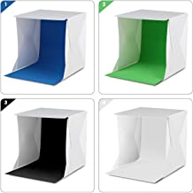 Amzdeal 12in Photo Studio Box Foldable Photo Light Box Professional Photo Booth Box with LED Light 4 Colors Backdrops