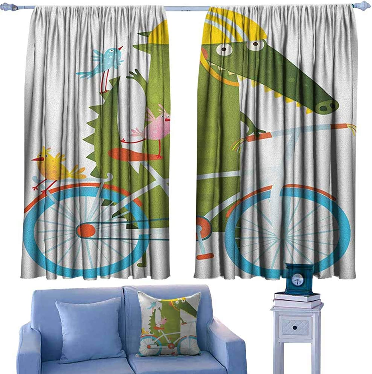 Curtains for livingroom Bedroom,Funny Green Crocodile in Going for a Bike Ride with Friends Cartoon Kids Nursery,Rod Pocket Drapes Thermal Insulated Panels Home décor,W63x45L Inches Multicolor