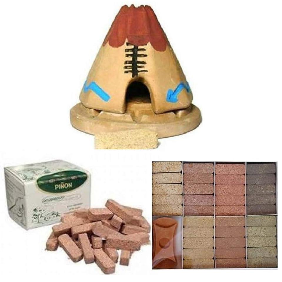 経験者愛丘Teepee Incense Burner with 20 Pinon Natural Wood Incense, 40 Pinon Natural Wood Incense, 7 Scent Sampler Wood Incenses (49 Bricks) with Holder - All-in-One