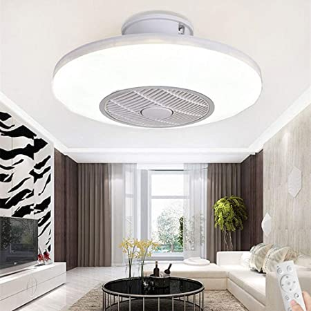 LAKIQ Modern Round Close to Ceiling Fan with Light LED Ceiling Fan Lamp 3-Color Remote Control Acrylic Semi Flush Mount Ceiling Lighting Fixture 19.5'' Wide for Bedroom Living Room Kid's Room (Grey)