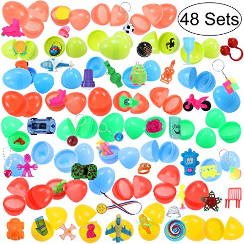 Why Should You Buy iBaseToy 48 Toy Filled Easter Eggs with 48 Different Toys 2.6 Bright Colorful Pr...