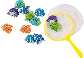 Blue Panda Pool Diving Toys – 13 Pack Underwater Toys for Kids, Dive and Catch Game, Includes 1 Catching Net and 13 Fish, Multicolored