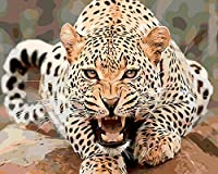 DIY 数字油絵 キャンバス油絵 大人子供ためギフト 数字キットでペイント ホームデコレーション - 悪質な虎 40* 50 cm