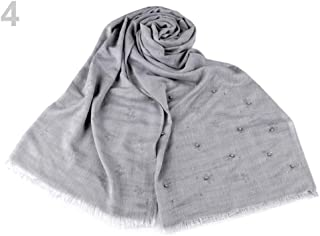 1pc Very Light Grey Scarf with Beads and Rhinestones 70x190cm, Solid Colour Scarves & Shawls, Shawls, Snoods, Fashion Accessories