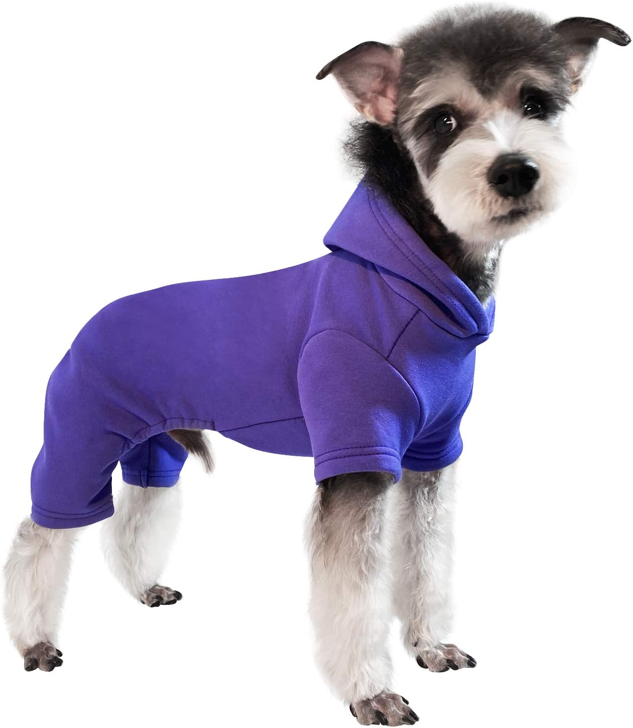 Topkins Winter Dog Clothes Dog Sweatshirts Fleece Dog Hoodie with 4 Legs for Cold Weather Stretchable Dog Pullover with Hat Solid Color Pet Apparel Pink