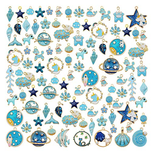 Pack of (x20) Mixed Kinds Blue Enamel Paint Metal Crafts Gold Plated Earrings Bracelets Necklaces Pendants Charms Bulk DIY Jewellery Findings 2-3cm