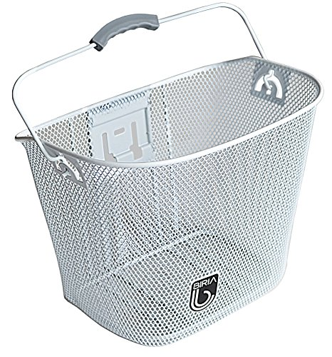 Biria Basket with Bracket White, Front Quick Release Basket, Removable, Wire Mesh Bicycle Basket, New, White