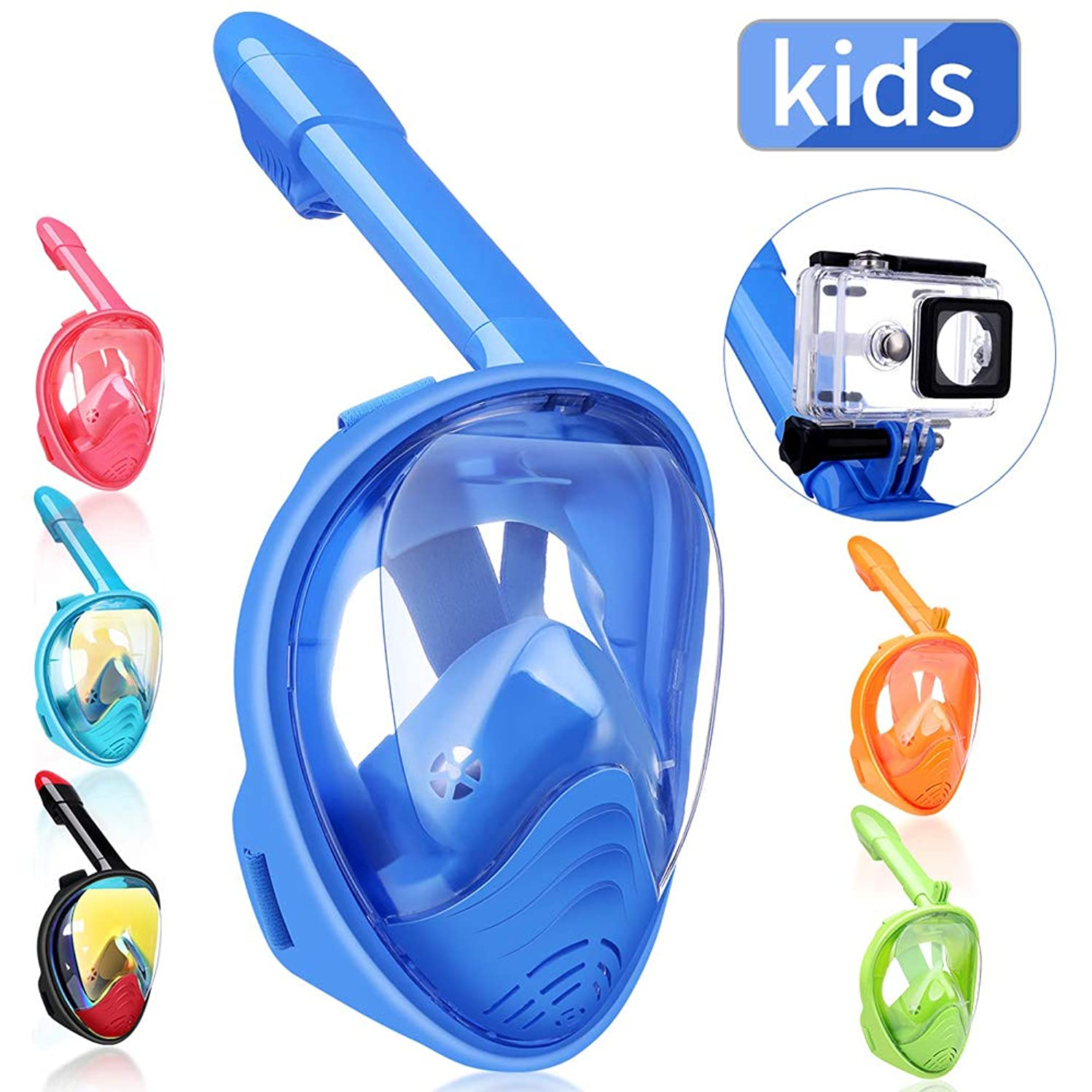 QingSong Kids Full Face Snorkel Mask, Snorkeling Mask with Detachable Camera Mount, 180 Panoramic Upgraded Dive Mask with Newest Breathing System, Dry Top Set Anti-Fog Anti-Leak Anti-UV