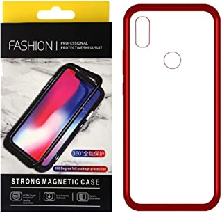 For Oppo Realme 3 Pro Magnetic Full Cover 2 Pieces Metal Frame, Tempered Glass Back Case - Red Frame