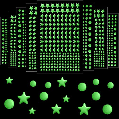 1652 Pieces Glow in The Dark Stars Stickers 3D Stars Dots Wall Stickers Luminous Stars Stickers...