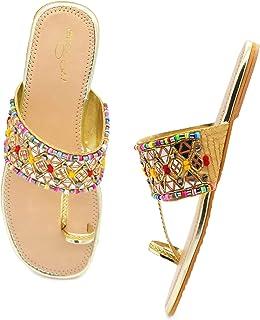 Designer Women's Slip on Embroidered Ethnic Flat Sandals