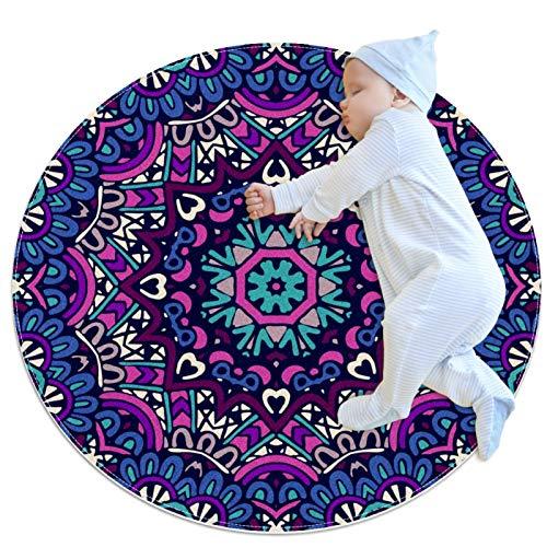 LKJDF Alfombras de gateo para niños y niñas, alfombra de juego alfombra de piso para decoración de habitación de niños, mandala de color oscuro floral