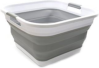 SAMMART Collapsible Plastic Laundry Basket - Square Tub/Basket - Foldable Storage Container/Organizer - Portable Washing Tub - Space Saving Laundry Hamper (1, Grey)