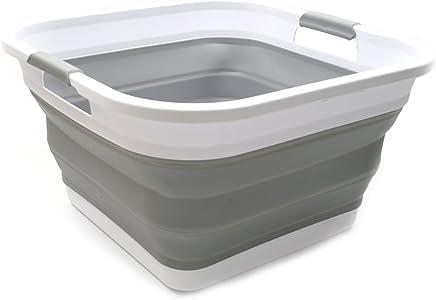 SAMMART Collapsible Plastic Laundry Basket - Square Tub/Basket - Foldable Storage Container/Organizer - Portable Washing Tub - Space Saving Laundry Hamper (Grey)