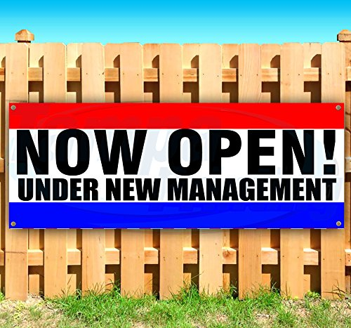 Now Open Under New Management 13 oz Heavy Duty Vinyl Banner Sign with Metal Grommets, New, Store, Advertising, Flag, (Many Sizes Available)