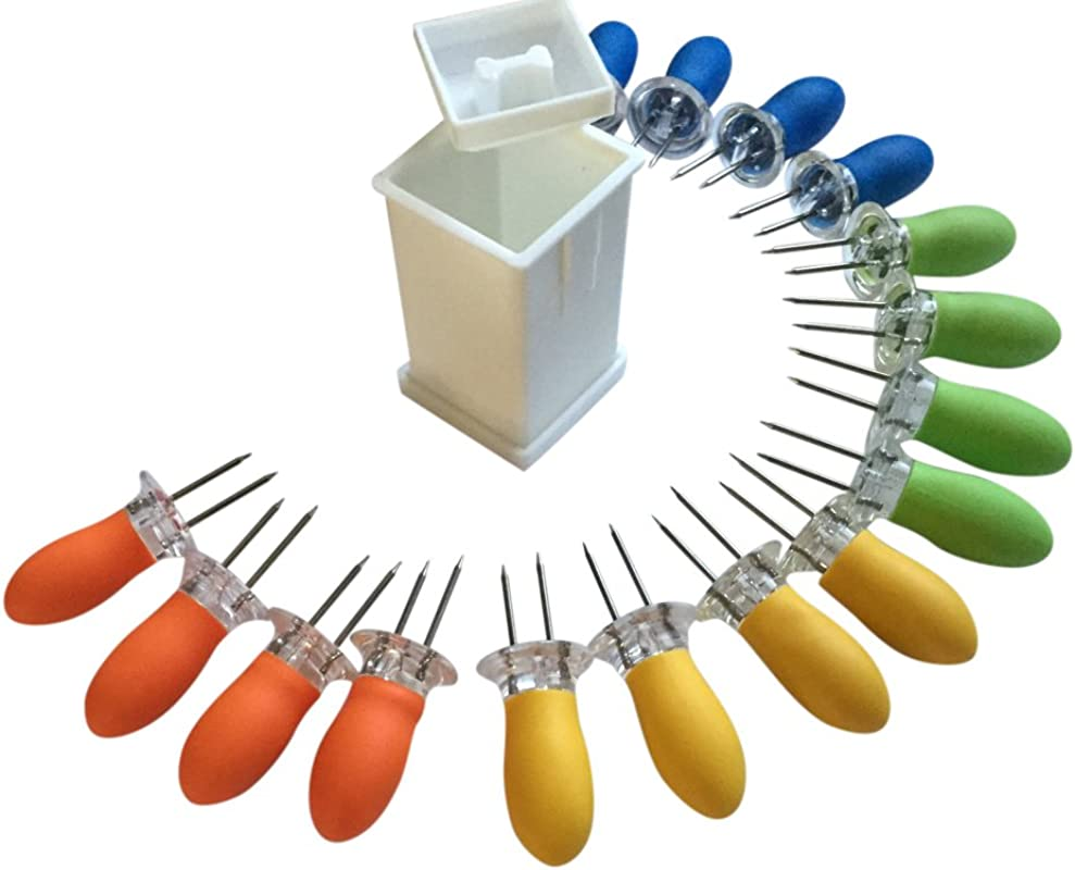 Butter Your Corn Set With Jumbo Corn Cob Holders For 8 And Norpro Butter Spreader