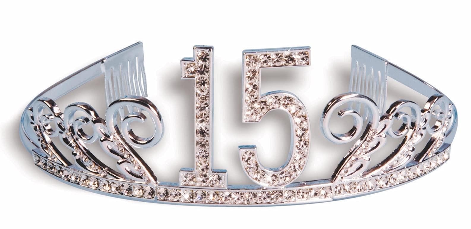 Forum Novelties Rhinestone Encrusted 15th Happy Birthday Tiara with Keepsake Box
