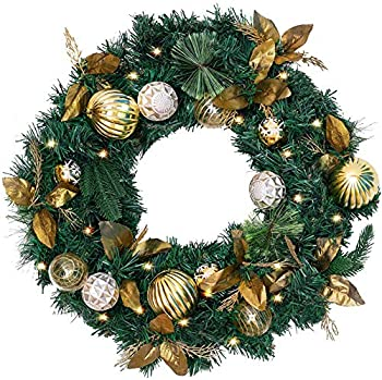 COCOBOO 24 Inches Christmas Wreath with 50 Lights Golden Ball for Christmas Winter Frontdoor Holiday Decor