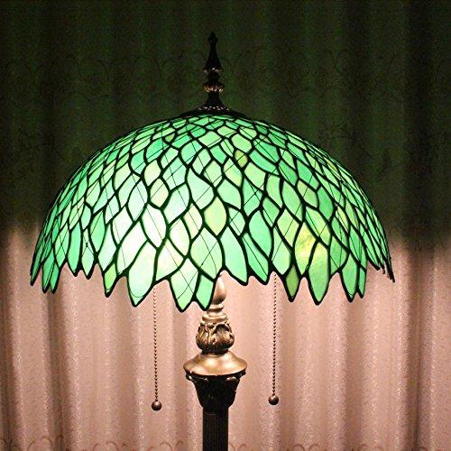 Creativo hecho a mano del vitral de Tiffany Tiffany Lámpara de pie de 16 pulgadas verde Fragmento Europea Estilo Pastoral Elegante Lujo