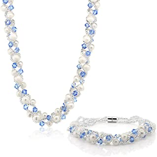 Gem Stone King 17 Inch White Cultured Freshwater Pearl & Blue Crystal Mash Necklace + Bracelet 6.5 Inch
