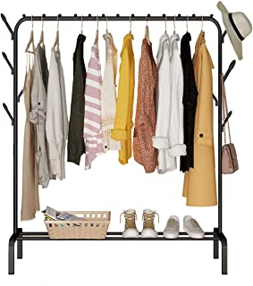Garment Cloth Rack Clothes Hanger Stand Clothes Dryer Rail with 8pcs Branch Hook Bottom Storage 110cm Length Large Space f...