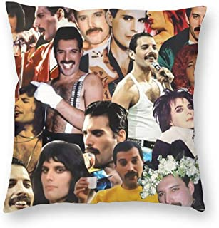 SSG One Street Vintage Velvet Sofa Couch Cushion Cases for Bedbugs Hypoallergenic, Freddie Mercury Tribute Video Collage Holidays Home Decorative Throw Pillowcases, 18 X 18 Inch