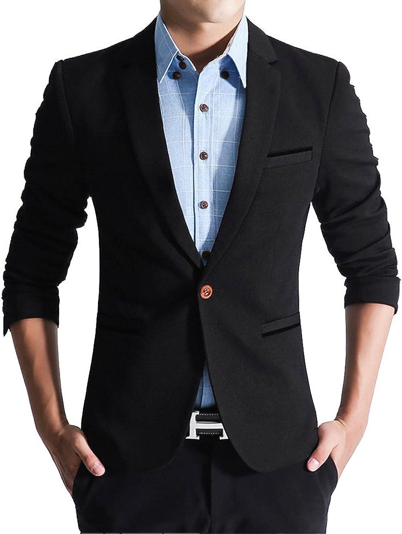 S&S-Men Slim Fit Blazer One Button Casual Business Lapel Suit Coat Sport Jackets