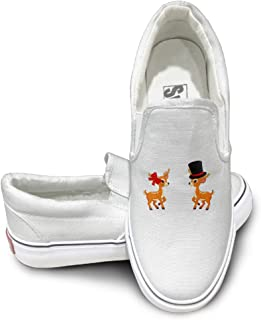 CAPA Unisex Sport Shoes Deers Dance Flat Canvas Sneaker White
