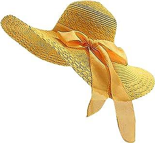 Riou Cappello di Paglia Donna, Cappello da Sole Donna Pieghevole, Cappello da Spiaggia Estivo Tesa Larga per L'estate in S...