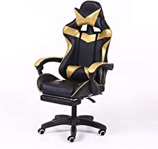 Computer Office Chair Home Gaming Chair Lifted Rotating Lounge Chair with Footrest/Aluminum Alloy Feet (Black) (Color : Gold)