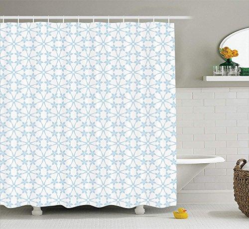 Yeuss House Decor Collection, abstraktes Blumen- & Punktemuster Schneeflocken klassisches stilvolles Kariertes Designmuster, Badezimmer-Duschvorhang aus Polyestergewebe, blaues Lichtgrau