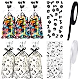 100 Pieces Dog Paw Bone Print Treat Bags Puppy Dogs Cellophane Bags Candy Gift Bags with 2 Rolls Ribbon Ties for Pet Treat Party Favor (Dog Pattern Style)
