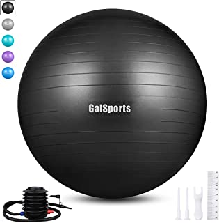 GalSports Exercise Ball (55cm-85cm) Extra Thick Yoga Ball,  Anti-Burst Yoga Ball Chair Supports 2200lbs with Quick Pump,  Stability Fitness Ball for Birthing & Core Strength Training & Physical Therapy