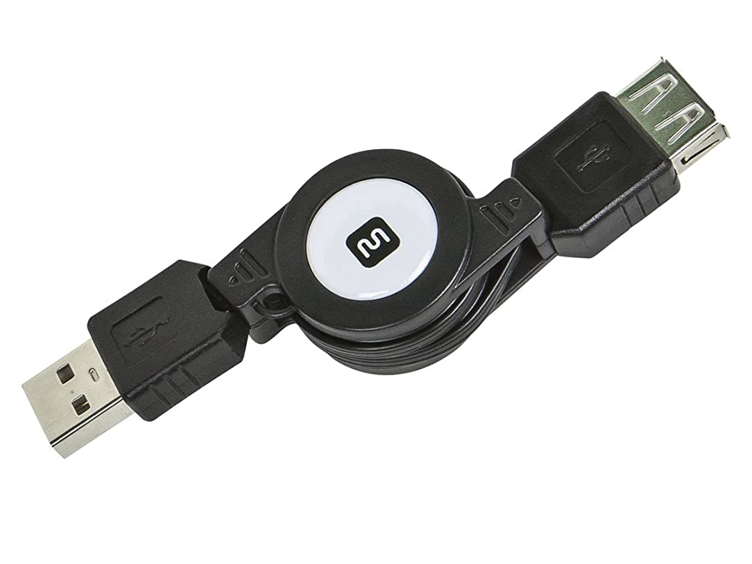 Monoprice 2.5' USB 2.0 Retractable Cable - A Male to A Female (110961)